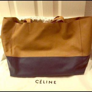 Celine Bicolor Horizontal Cabas Leather Tote